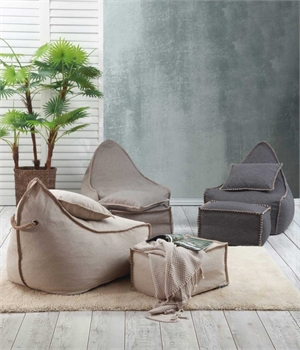 Bean Bag & Ottoman Set Charcoal-home-decor-Tessa Mae's with Attitude | Gifts and Homewares | Mapua NZ