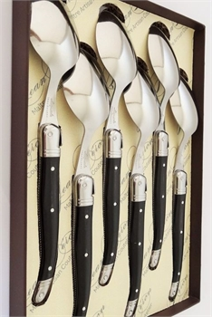 Dessert Spoon gift box set of 6 Black-french-range-Tessa Mae's with Attitude | Gifts and Homewares | Mapua NZ