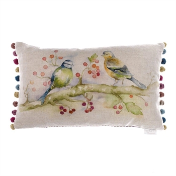 Birdies Floral Linen Cushion-home-decor-Tessa Mae's with Attitude | Gifts and Homewares | Mapua NZ
