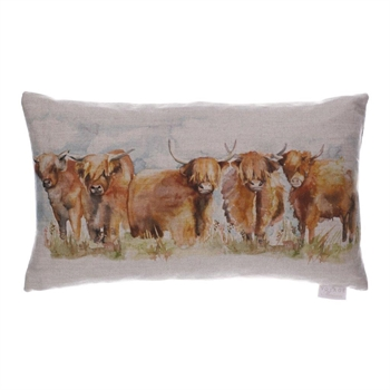 Highland Cattle Linen Cushion-home-decor-Tessa Mae's with Attitude | Gifts and Homewares | Mapua NZ