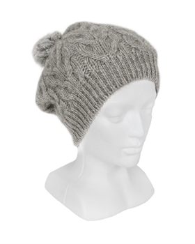 Relaxed Cable beanie with fur pompom - Silver-nz-made-Tessa Mae's with Attitude | Gifts and Homewares | Mapua NZ