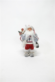 Santa Grey Red 30cm Small-christmas-Tessa Mae's with Attitude | Gifts and Homewares | Mapua NZ