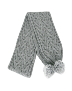 Cable Scarf with fur pompom - Silver-nz-made-Tessa Mae's with Attitude | Gifts and Homewares | Mapua NZ