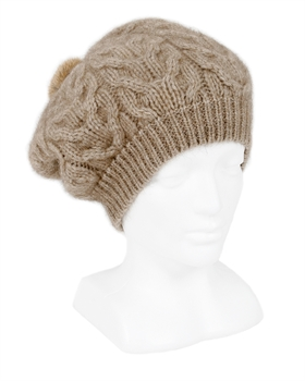 Relaxed Cable beanie with fur pompom - Natural-nz-made-Tessa Mae's with Attitude | Gifts and Homewares | Mapua NZ
