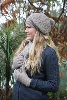 Cable Scarf with fur pompom - Natural-nz-made-Tessa Mae's with Attitude | Gifts and Homewares | Mapua NZ